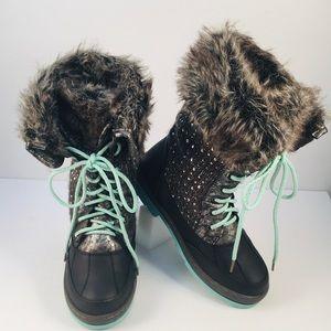 Justice Faux Fur Sparkle Boots